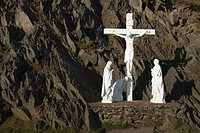 Roadside crucifix and holy statues in Dingle Peninsula, Slea Head  County Kerry, Ireland