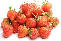Close view of freshly picked strawberries.
