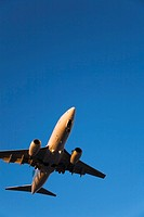 Commercial jet airplane landing, Dorval, Quebec, Canada