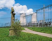 Cruzifix infront of the nuclear power station of Grafenrheinfeld, Bavaria, Germany