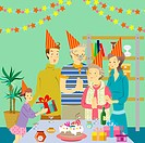 Three generational family having birthday party