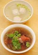 Fish ball soup and deep fried pork rib soup