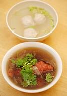 Fish ball soup and deep fried pork rib soup