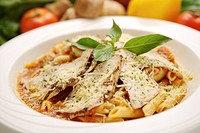 Pasta on plate, close_up