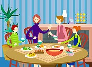 Young parents having dinner with children at home