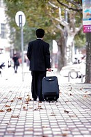 Businessman pulling suitcase outdoors