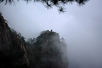 China, Anhui Province, Mt. Huangshan, The Monkey Gazing At The Sea