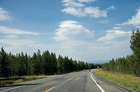 USA, Yellowstone National Park, Road in non_urban setting