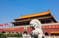 Image of a guardian lion in front of Tiananmen Square