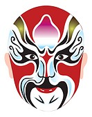 Traditional Chinese Opera Mask for Zhongli Quan, also known as Zhongli of Han