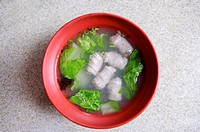 Close_up of a bowl of fish ball soup