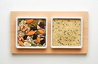 Close_up of dry foods in two plates