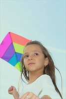 Seven year old girl with kite, Winnipeg, Canada