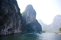 China, Guangxi Province, Guilin, Yangshuo, river traffic on Li River