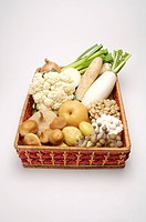 Close_up of a stack of fresh fruits and vegetables in a basket