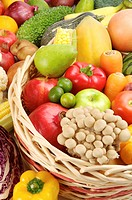 Close_up of a stack of different kinds of fruits and vegetables in a basket