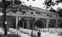 SG. hist., Ausstellungen, München 1908, Architektur, Theater_Cafe, Architekt: Professor P. Pfann, Außenansicht, Theater, Cafe, Ausstellung, Bayern, De...