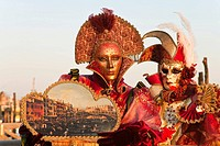 Two masked persons at the carnival in Venice, Italy, Europe