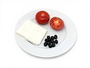 Greek Food DolmathisTomatoes Black Olives and Feta Cheese