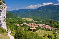Roquefixade looking towards Montsegur, Ariege, Midi_Pyrenees, France