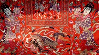 Details of embroidery on the fabric of a wedding sedan chair, Capital Museum, Beijing, China