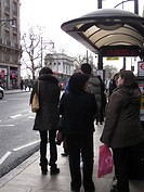 Queuing for a Bus Oxford Street Near Marble Arch London