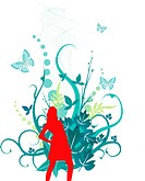 Silhouette of a young woman with butterfly and vines in background