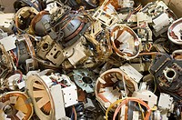 Recycling electrical goods. Electrical speakers waiting to be recycled. Waste electrical and electronic equipment WEEE contains toxic metals such as l...