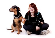 Junges Maedchen mit Dobermann, young girl and her Dobermann