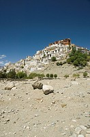 Low angle view of a monastery, Thiksey Monastery, Ladakh, Jammu and Kashmir, India