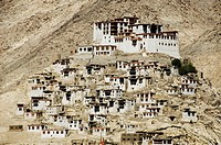 Monastery in mountains, Chemerey Monastery, Ladakh, Jammu and Kashmir, India