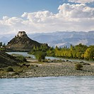 River with monastery in the background, Stakna Monastery, Indus River, Ladakh, Jammu and Kashmir, India