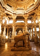 Animal statue in a temple, Adinath Temple, Jain Temple, Ranakpur, Pali District, Udaipur, Rajasthan, India