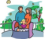 Couple with their two children in a park