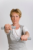 Woman dumbbell gym