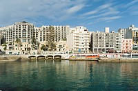 Buildings at the waterfront, Balluta Bay, Malta