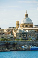 Buildings at the waterfront, Marsamxett Harbor, Valetta, Malta