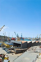 Cranes at a commercial dock, French Creek, Valletta, Malta