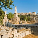 Ruins of statues, Odeon of Agrippa, The Ancient Agora, Athens, Greece