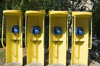 Telephone booths in a row, Athens, Greece