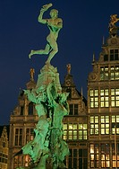 Belgium - Flanders - Antwerp - Grote Markt, Grand Place - The Stadhuis City Hall and guild houses -... (thumbnail)