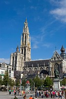 Belgium _ Flanders _ Antwerp _ View on the Groenplaats Green Square and Cathedral of Our Lady Onze_Lieve_Vrouwekathedraal