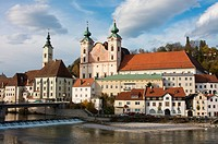 Buildings at waterfront, Steyr, Austria