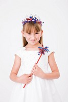 Portrait of girl 8_9 wearing Fourth of July costume