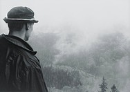 A man watching a forest fire