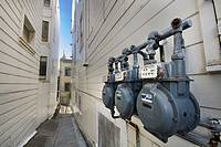 Narrow street with water or electricity meter, San Francisco