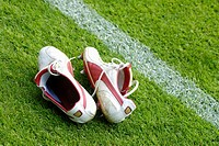 Utrecht The Netherlands Pair of football boots next to the sideline at De Gaalgenwaard Stadion