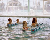 Women doing a water aerobics class