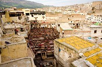 Chouara tannery, high angle view, Medina of Fez, Morocco