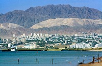 Aqaba Jordan Eilat Israel From Aqaba Red Sea &amp; City And Fence Gulf of Aqaba Great Rift Valley